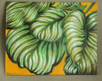 """Striped Leaves Original Acrylic Painting 8"""" x 10"""""""