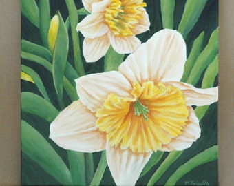 """Daffodils in the Garden  Original Acrylic Painting 12"""" x 12"""""""