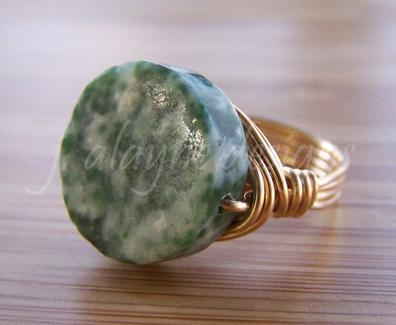 Tree Agate Wire Wrapped Ring Size 6 Sterling Silver