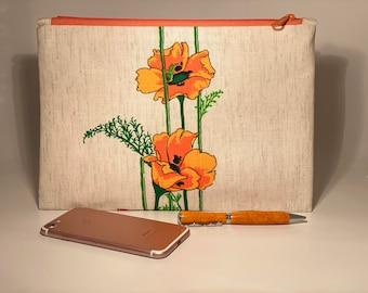 Floral Clutch, Linen clutch bag, Simple Purse, Summer clutch, Vintage Alfred Shaheen fabric clutch purse, Clutch bag