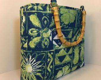 Handbag, PURSE, Alfred Shaheen fabric, Summer handbag, WOMAN'S purse, purse, Handmade Handbag, Woman's Bag, Purse, HANDBAG, Fabric handbag