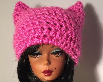 Pink pussy cat hat for Barbie, Silkstone, Fashion Royalty, fashion doll pink hat, Barbie accessories, FR doll fashions, Barbie doll fashions