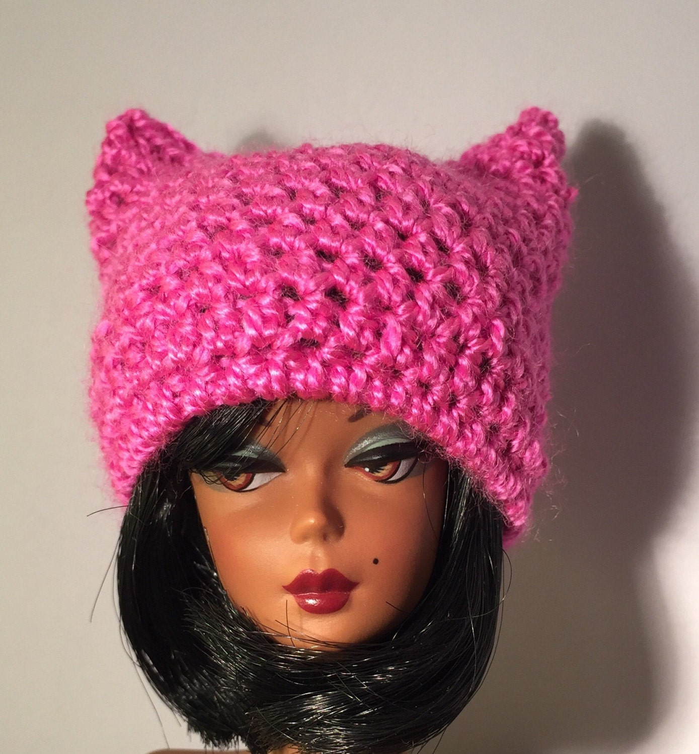 50dc2524ff6 Pink pussy cat hat for Barbie Silkstone Fashion Royalty