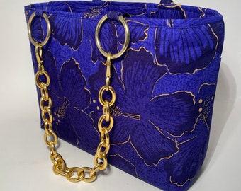 HANDBAG, Alfred Shaheen fabric, PURSE-handmade fabric handbag, one of a kind handbag, tote bag, cloth purse, fabric purse, OOAK Purse