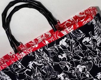 Handbag, PURSE, Alfred Shaheen fabric, Top handle purse, WOMAN'S purse, Handmade Handbag, Woman's Bag, Purse, HANDBAG, Fabric handbag