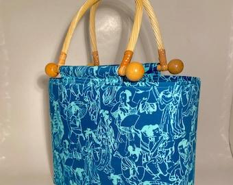 Handbag, PURSE, Alfred Shaheen fabric, Top handle purse, WOMAN'S purse, Handmade Handbag, Woman's Bag, Teal Purse, HANDBAG, Fabric handbag