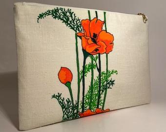 Linen Clutch, Simple Purse, Summer clutch, Vintage Alfred Shaheen fabric clutch purse, Floral Clutch