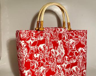 Handbag, PURSE, Alfred Shaheen fabric, Top handle purse, WOMAN'S purse, Handmade Handbag, Woman's Bag, Red Purse, HANDBAG, Fabric handbag