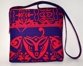 Shoulder Bag, Crossbody Bag, Fabric Handbag, UNIQUE purse, Alfred Shaheen fabric, one of a kind handbag, Unisex crossbody bag, messenger bag