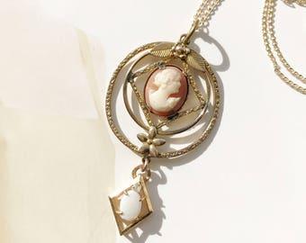 Vintage lavalier necklace | retro simulated opal, diamond and cameo lavalier bridal bride necklace | romantic statement necklace