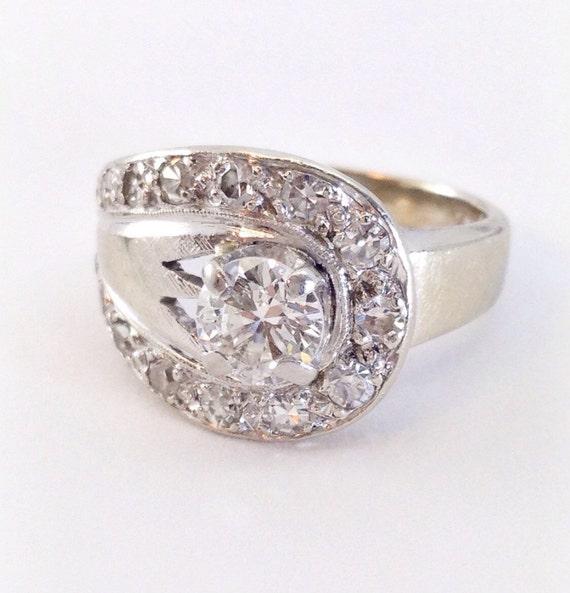 Art Deco 1 Ct Diamond Ring 1940 S 14k White Gold Large Etsy