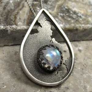 Rainbow Moonstone 4.50ct Sterling Silver Amulet Pendant Handmade