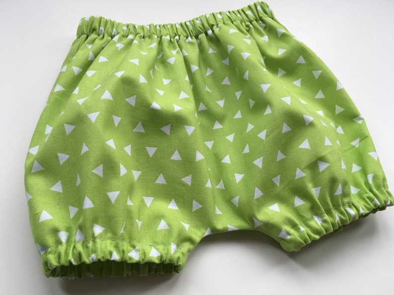 Baby Shorts Sizes 3 months Unisex Baby Bloomers -Tossed Triangles Aqua or Lime Girl or Boy Baby BLOOMERS BUBBLE SHORTS 2 yrs.