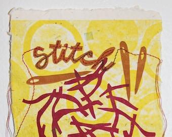 Stitch Letterpress Print Limited Edition - Handmade Paper
