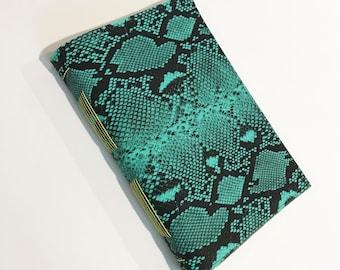 Handmade Journal Sketchbook Green Snakeskin