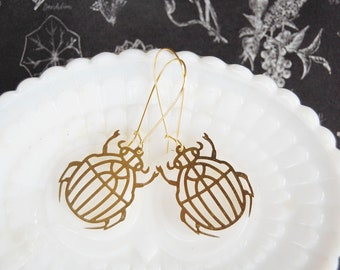 Laser cut raw brass beetle dangle earrings-entomolgy-insect-bug