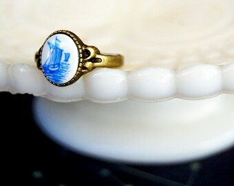 Vintage ship ring- antique brass tone- blue and white sailboat
