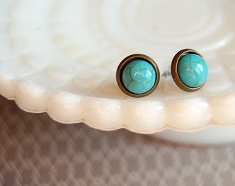 tiny turquoise framed post earrings - acrylic cabochons- aged brass