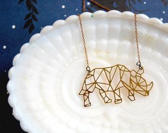 Geometric modern brass Rhino necklace- animal- rhinoceros- vintage brass chain