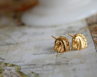 brass unicorn post earrings- vintage inspired- magic- mythical creature