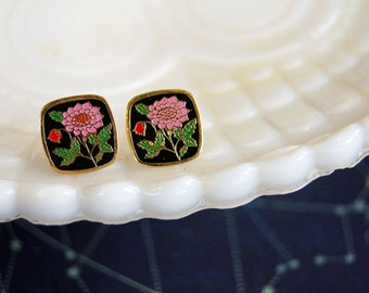Vintage black and pink enamel flower earrings - square style
