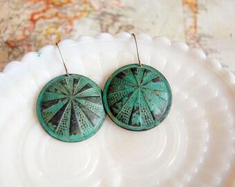 sunburst round verdigris brass dangle earrings - vintage inspired
