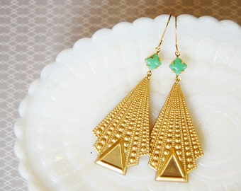 deco style dangle earrings- bright brass and jadeite green- vintage modern