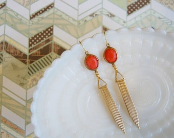 vintage brass earrings- coral stones with long deco drops- geometric dangles
