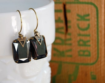 vintage hematite set stone warring dangles- arrow triangle detail- aged brass-deco