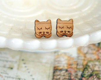 sleepy kitty cat wooden post earrings- vintage inspired - laser cut