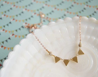 tiny bunting mixed metal necklace - gold and rose gold- czech glass bead detail