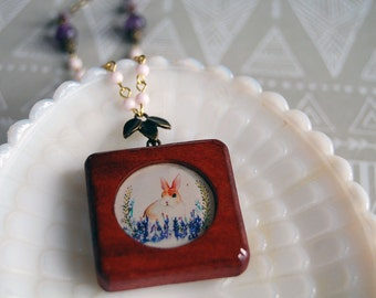 vintage bunny rabbit in flowers illustration wood and resin necklace- vintage beads- amethyst stone