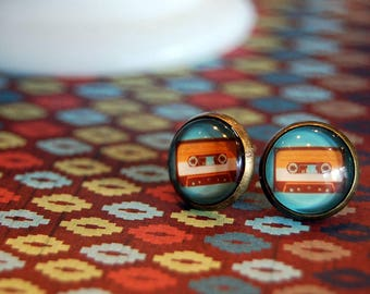 Mix Tape cassette framed post earrings - retro style teal and orange