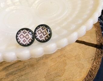 white and brown tribal southwest patterned framed post earrings- Pendleton inspired