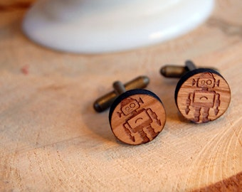 wooden robot cufflinks - aged brass tone - cuff links- wood