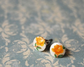 vintage tiny golden roses post earrings