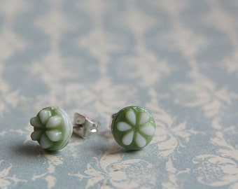 Vintage sage green glass post earrings- key lime posts.