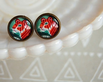 tiger illustration framed post earrings- orange and green- tiger cat- vintage inspired