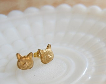 kitty cat brass post earrings