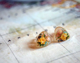 vintage yellow rose heart post earrings- shabby chic- glass cabochons