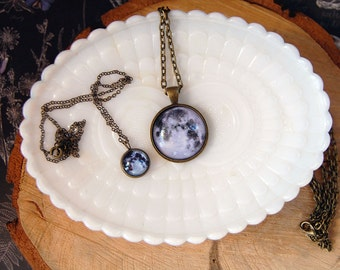 to the moon and back mother daughter necklace set- gift set- friendship- lunar