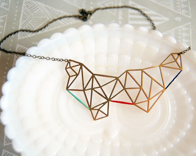 Featured listing image: modern geometry enamel accented raw brass necklace