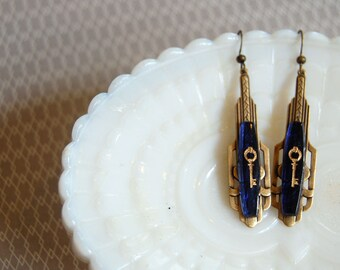 vintage deco key dangle earrings- antiqued brass