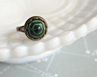 forest green abstract vintage cabochon ring- adjustable aged brass tone brass