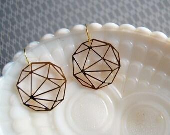 geometric raw brass laser cut dangle earrings- modern circles