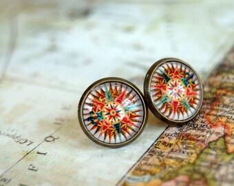 Compass earrings- version 2- Framed post earrings- world traveler- adventures- vintage inspired