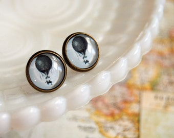 Vintage hot air balloon post earrings - glass cabochon with antique brass frame- stud- vintage flight