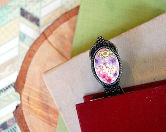 vintage pink and purple floral print cabochon metal bookmark- granny chic- reader gift