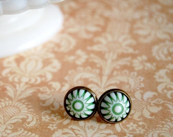 Spearmint winter green and white candy stripe vintage post earrings in aged brass settings- retro folk holiday