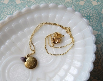 simple vintage engraved locket- brass with tiny flower- the alice.